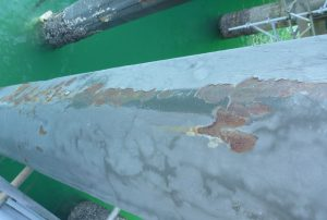 Example of corrosion of steel fender piles.