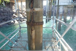 Work platform around concrete piles to complete crack and spalling repairs.